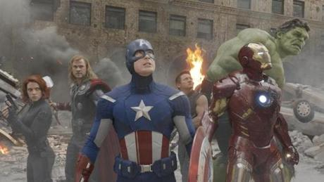 "From left: Scarlett Johansson, Chris Hemsworth, Chris Evans, Jeremy Renner, Robert Downey Jr., and Mark Ruffalo in ""Marvel's The Avengers,"""